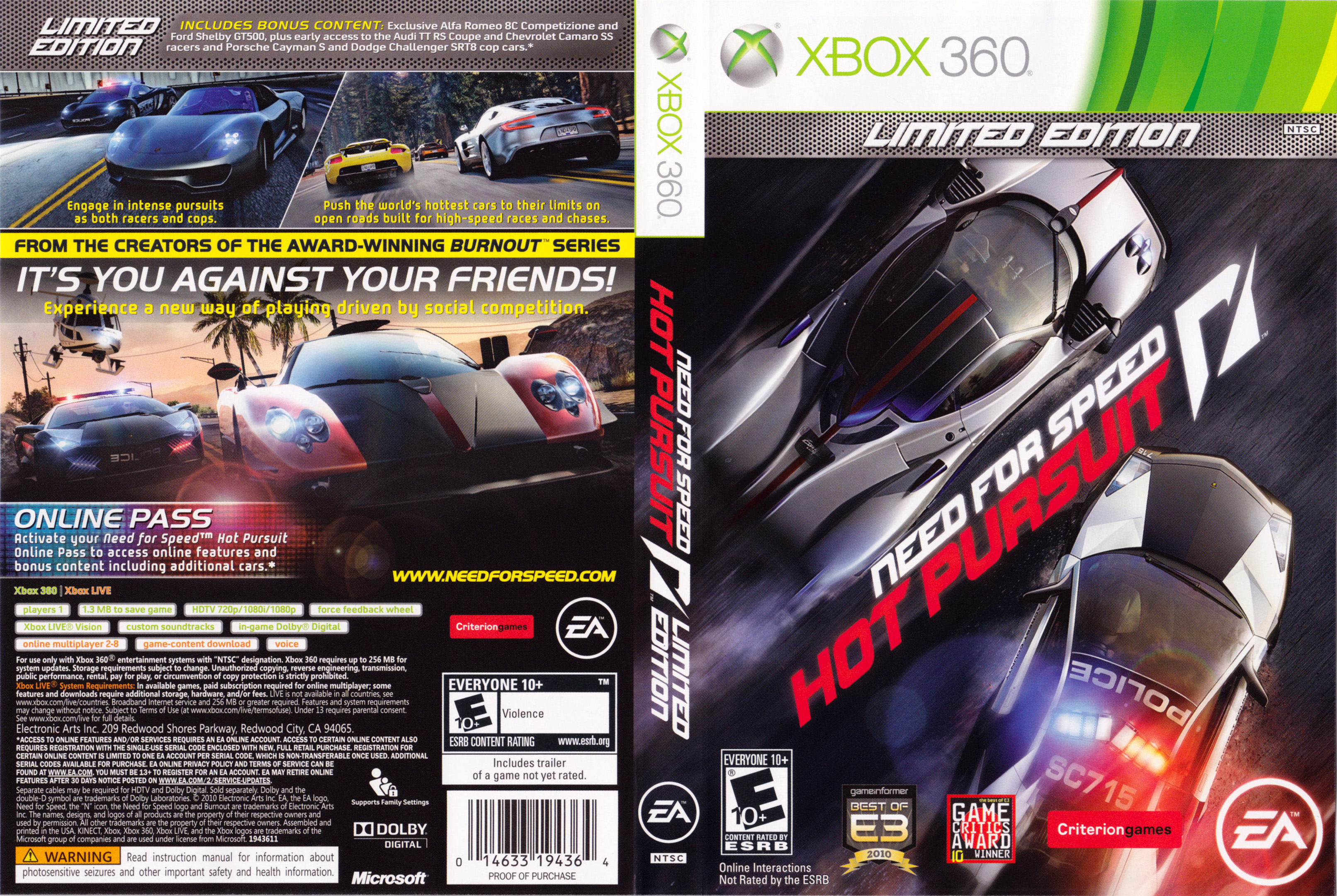 Xbox 360  Need For Speed Hot Pursuit  Capas E Covers Gratis-7140